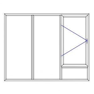 پنجره UPVC ساده سایز 2415*1915
