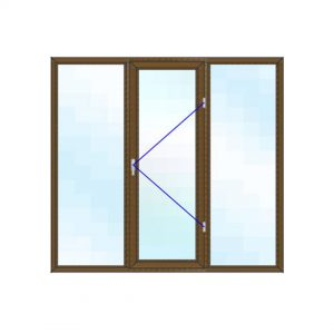 پنجره UPVC لمینت سایز 2079*1924